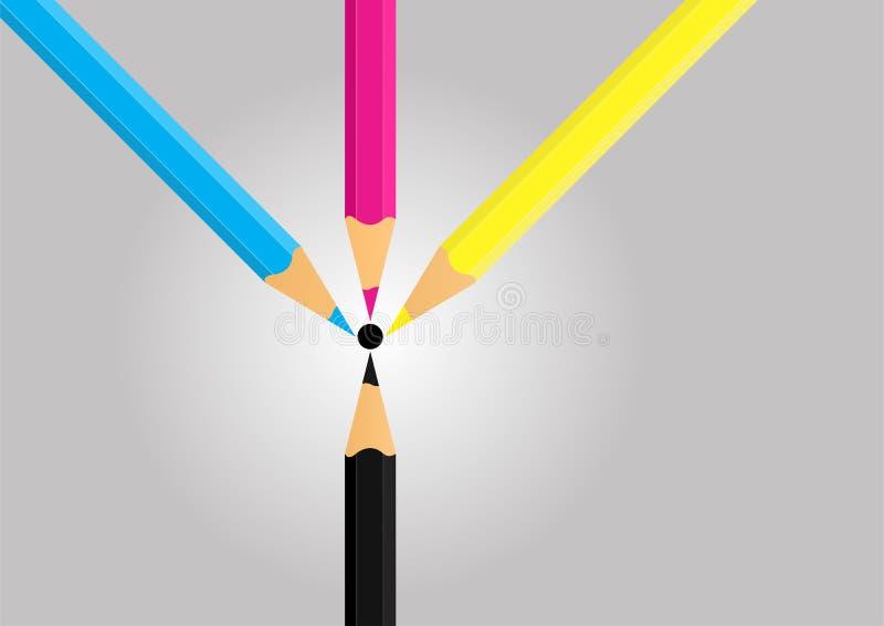 CMYK pencils - cdr format stock photos