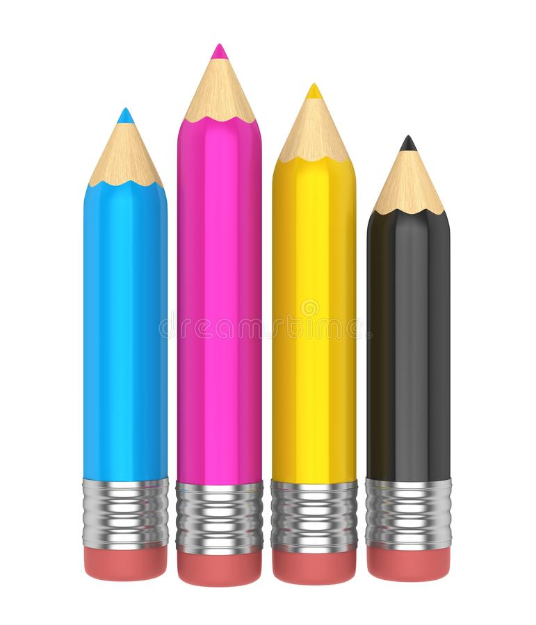 CMYK Pencils Isolated. On white background. 3D render stock illustration
