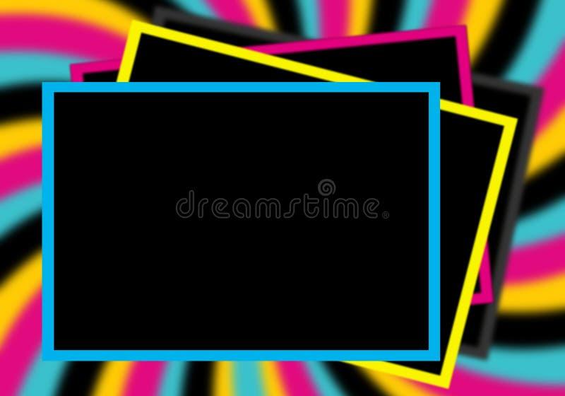 CMYK photo frames. In blur background