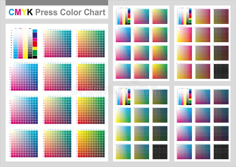 CMYK Press Color Chart. Vector color palette, CMYK process printing match. Cyan. Magenta. Yellow. Black. For digital design, animation, and packaging when CMYK royalty free illustration