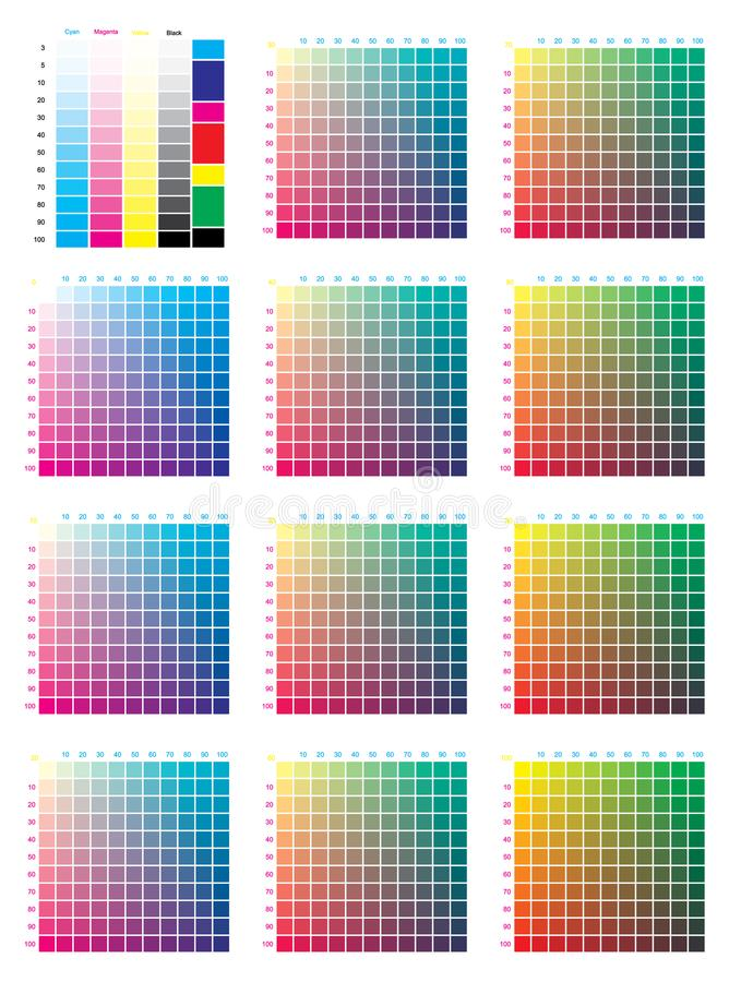 CMYK Press Color Chart. Vector color palette, CMYK process printing match. For digital design, animation, and packaging when CMYK printing is required royalty free illustration