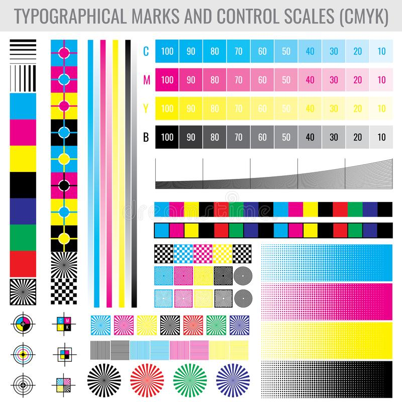 CMYK-Presse-Druckkennzeichen und Farbtonsteigungsstangen für Druckertest-Vektorsatz vektor abbildung