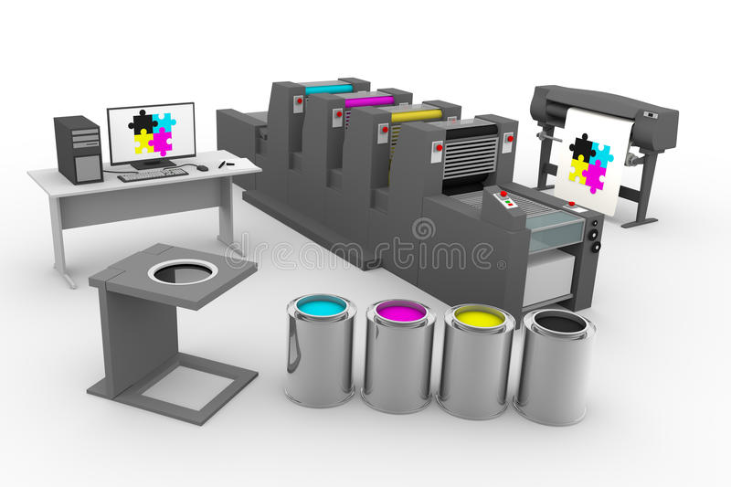 CMYK print production process royalty free illustration
