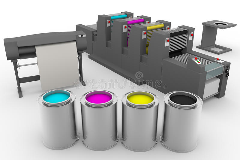 CMYK print production process vector illustration
