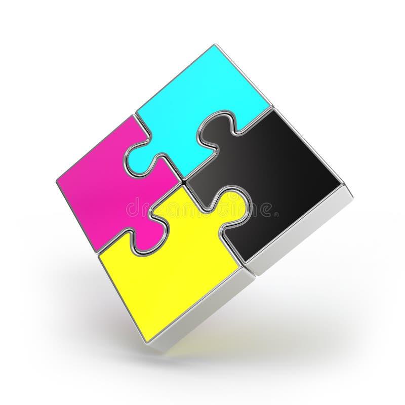 CMYK Puzzlespiel stock abbildung