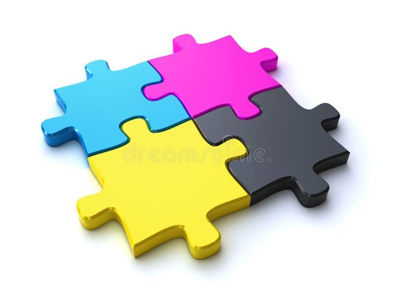 Cmyk Puzzlespiel lizenzfreie abbildung