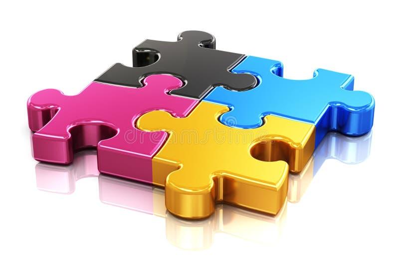 CMYK-Puzzlespiel vektor abbildung