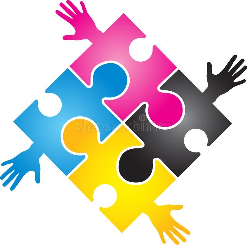 CMYK Puzzlespielhand stock abbildung