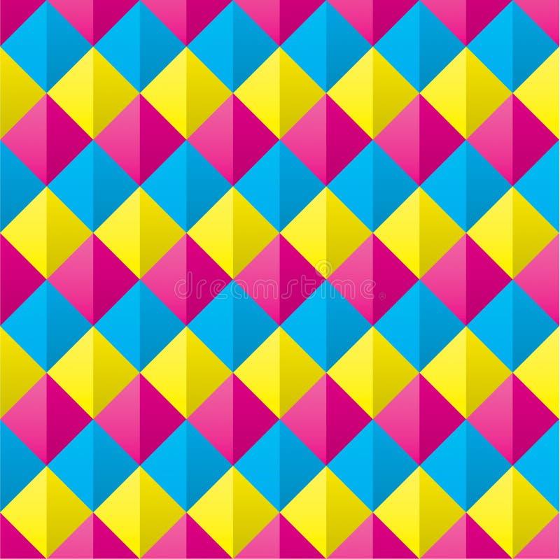 Cmyk ricoperto senza cuciture Diamond Shapes Pattern immagine stock libera da diritti