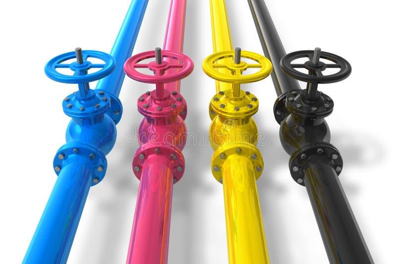 CMYK Rohrleitungen mit Ventilen stock abbildung