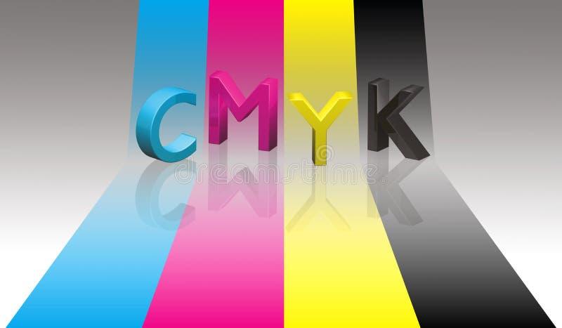 CMYK rotula a fita da cor ilustração do vetor