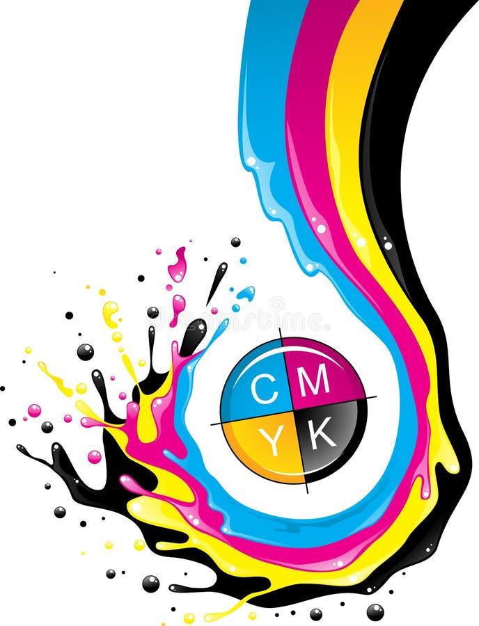CMYK splash. Conceptual illustration. Liquid CMYK paint move down with splashes and drops