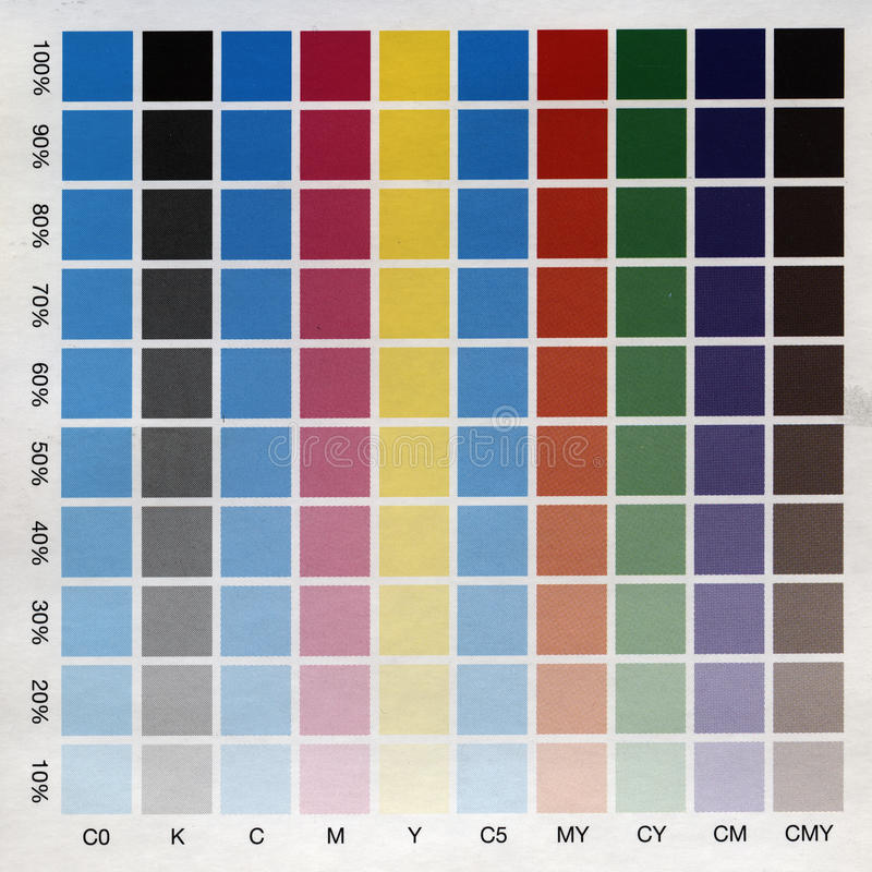 CMYK test print from above. CMYK test print with many color squares from above royalty free stock images