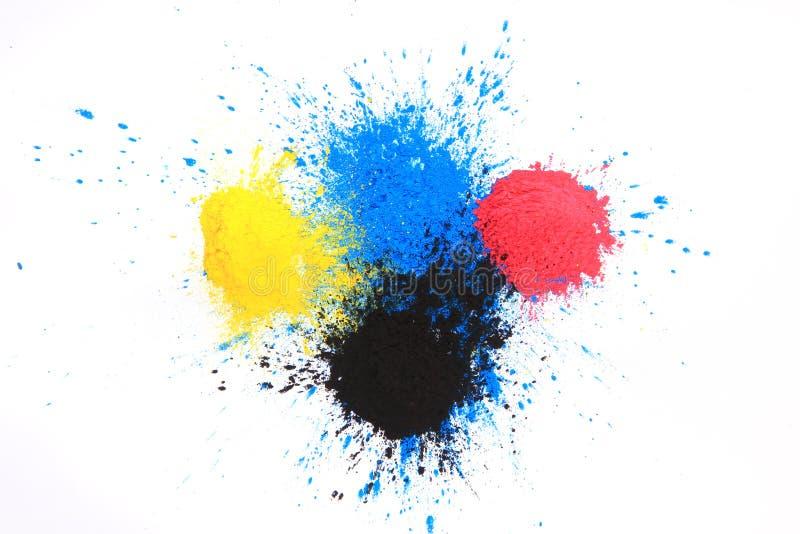Cmyk toner powder (cyan, magenta, yellow, black). Isolated on white background stock photos