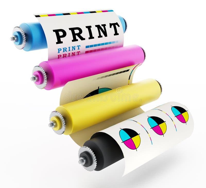 CMYK-tryckpress med provtrycket illustration 3d royaltyfri illustrationer