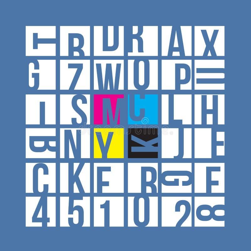 CMYK typography concept vector illustration