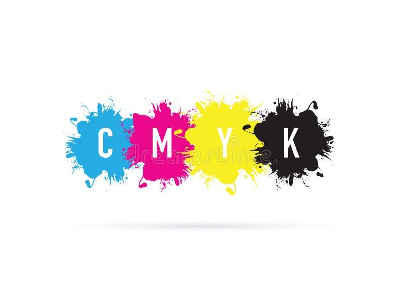 Cmyk uppsättning av färgstänk stock illustrationer