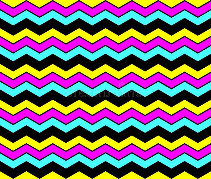 CMYK zigzag seamless pattern background royalty free stock photography