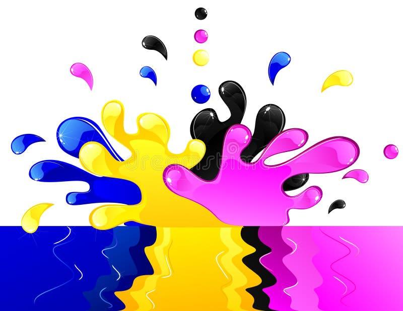 cmykfärgstänk vektor illustrationer