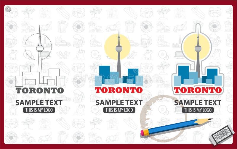 cn miejsca budowy skyline żaglówek Toronto pierwszoplanowy wieży ilustracja wektor