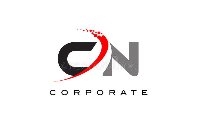CN Modern Letter Logo Design with Swoosh. CN Modern Letter Logo Design with Red Swoosh and Dots stock illustration