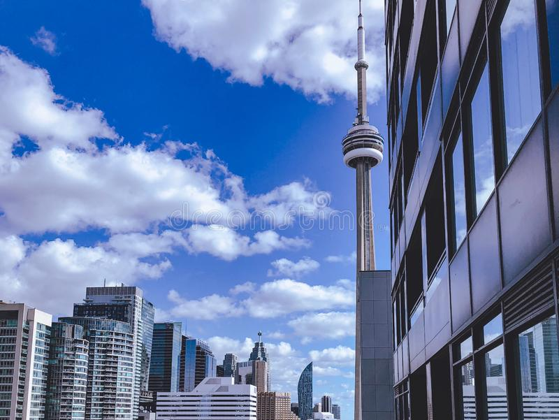 CN Tower in the daytime. A photo of the CN Tower and downtown Toronto stock image