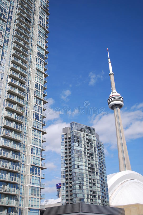 CN Tower from the highway stock photos