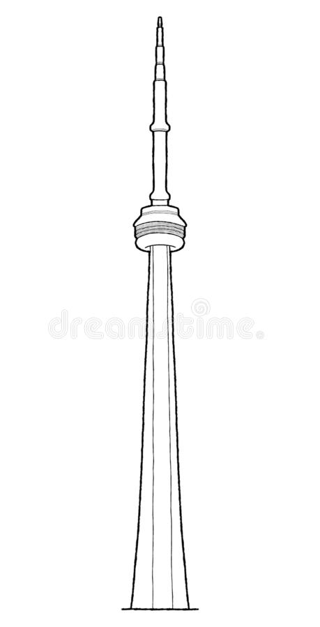 CN wierza, W centrum Toronto, Ontario, Kanada: Punkt zwrotny kreskówki Wektorowa Ilustracyjna ręka Rysująca sztuka ilustracji
