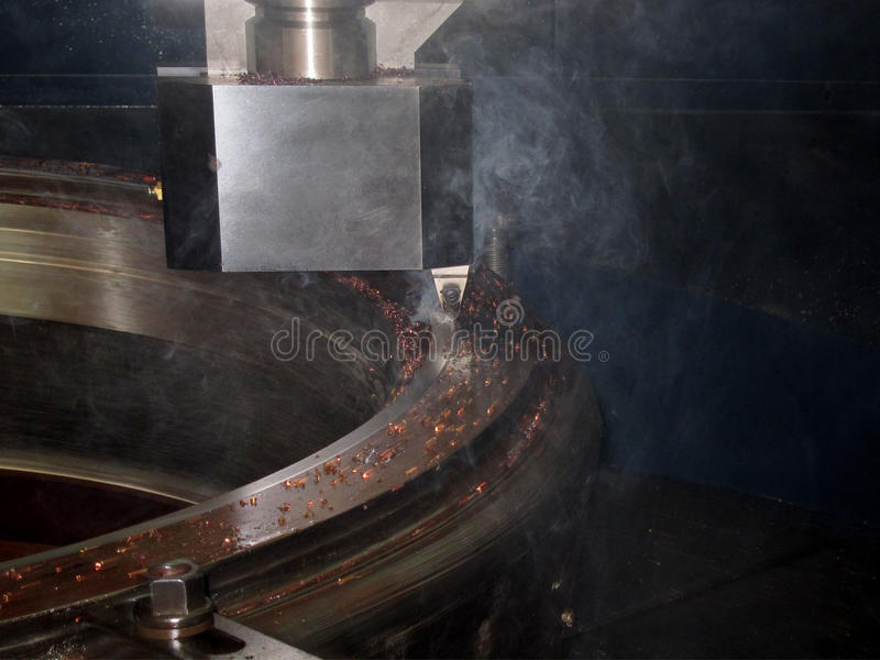 CNC金属车床机器 免版税库存照片