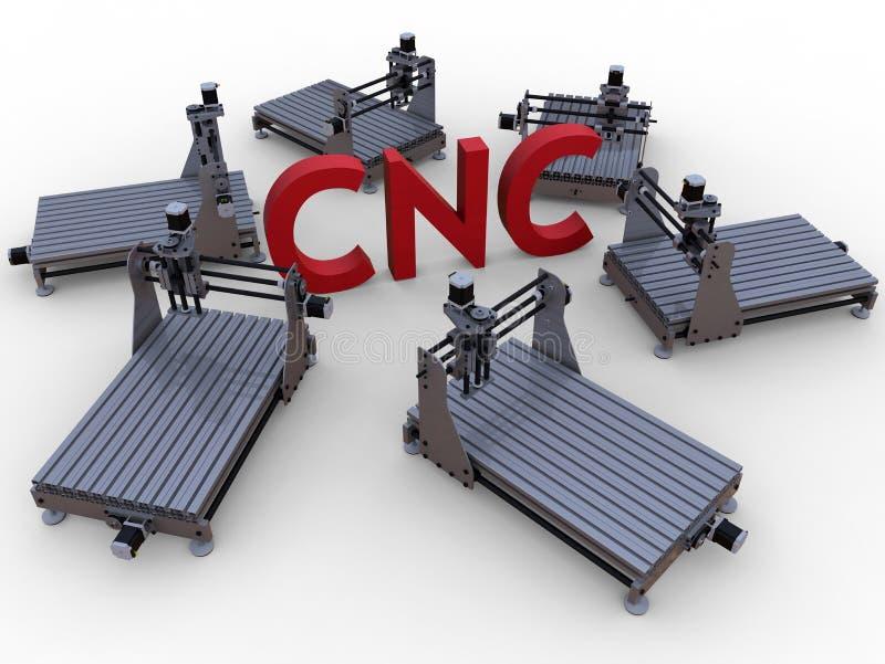 CNC που επεξεργάζεται την έννοια στη μηχανή διανυσματική απεικόνιση