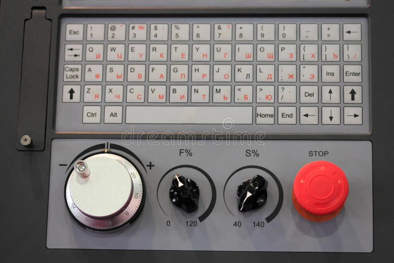 Cnc control panel close up. Control panel of cnc machine. Selective focus royalty free stock photography