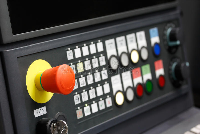 CNC control panel closeup. Control panel of CNC machining center. Closeup view. Selective focus stock photos