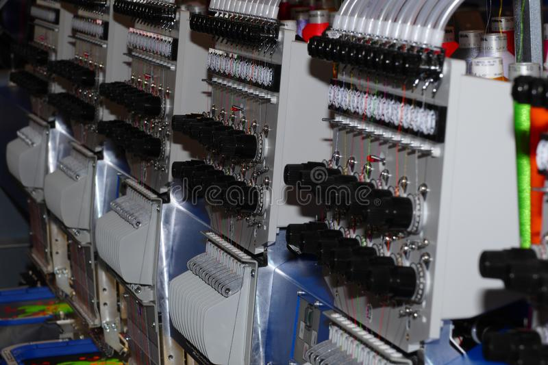 Cnc embroider machine. Cnc embroider head machine detail royalty free stock image