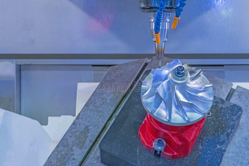CNC f?r fem axel som bearbetar med maskin turbinen f?r jetmotor f?r mittklipp royaltyfri foto