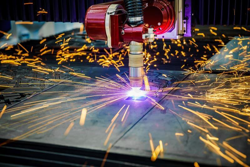 CNC het knipsel van het Laserplasma van metaal, moderne industriële technologie stock foto