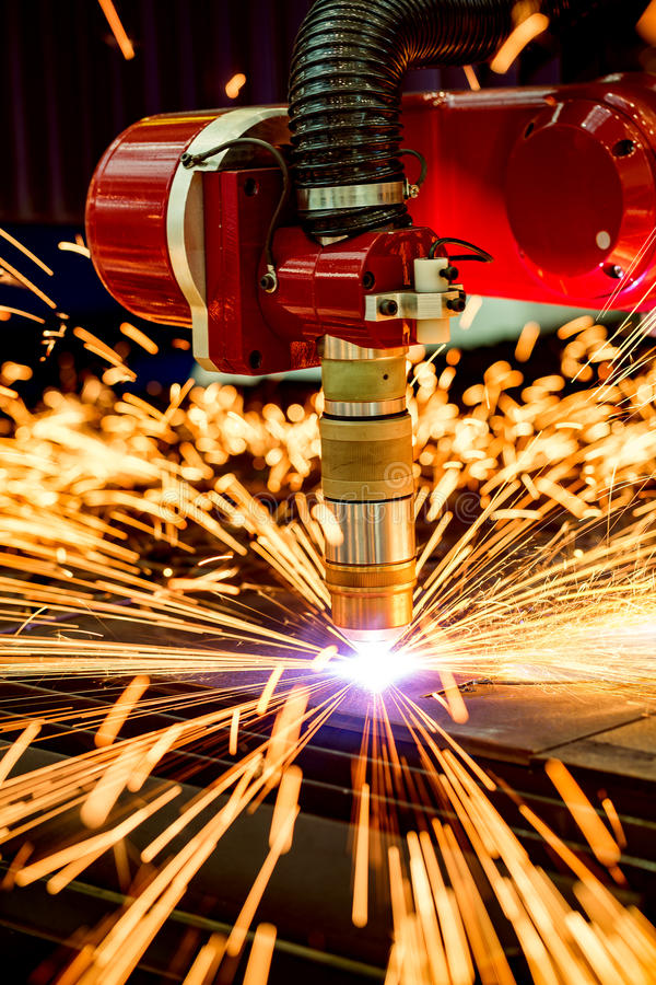 CNC het knipsel van het Laserplasma van metaal, moderne industriële technologie royalty-vrije stock fotografie