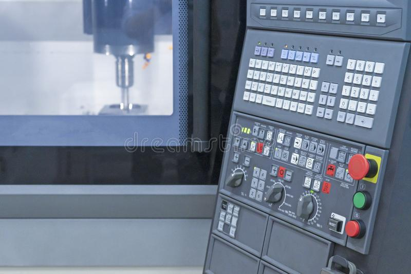 CNC machine center panel control milling in ndustry stock photo