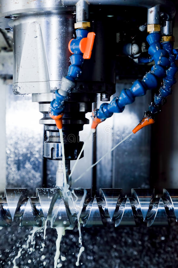 CNC machining station at work. Milling, threading industry. stock photos