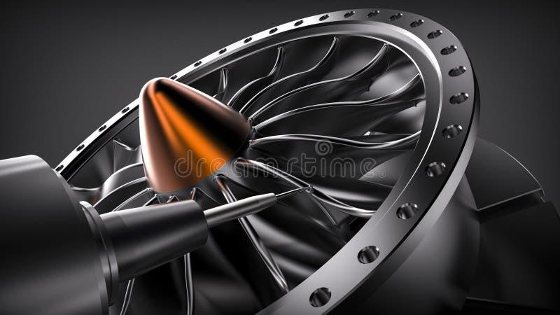 Cnc mielenia aluminiowa turbina w pięć osi maszynie royalty ilustracja