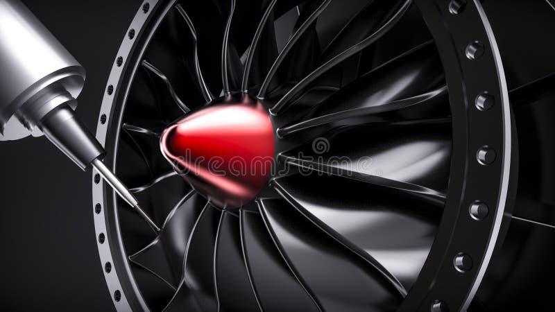 Cnc mielenia aluminiowa turbina w pięć osi maszynie ilustracji