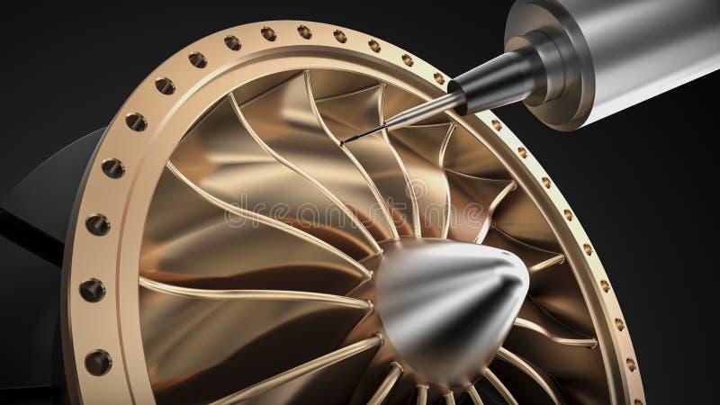 Cnc mielenia aluminiowa turbina w pięć osi maszynie ilustracja wektor
