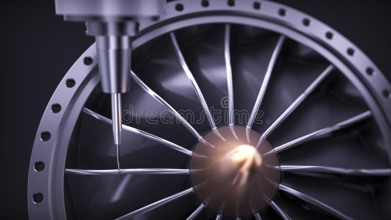 Cnc milling aluminum turbine in five axis machine. royalty free stock photo