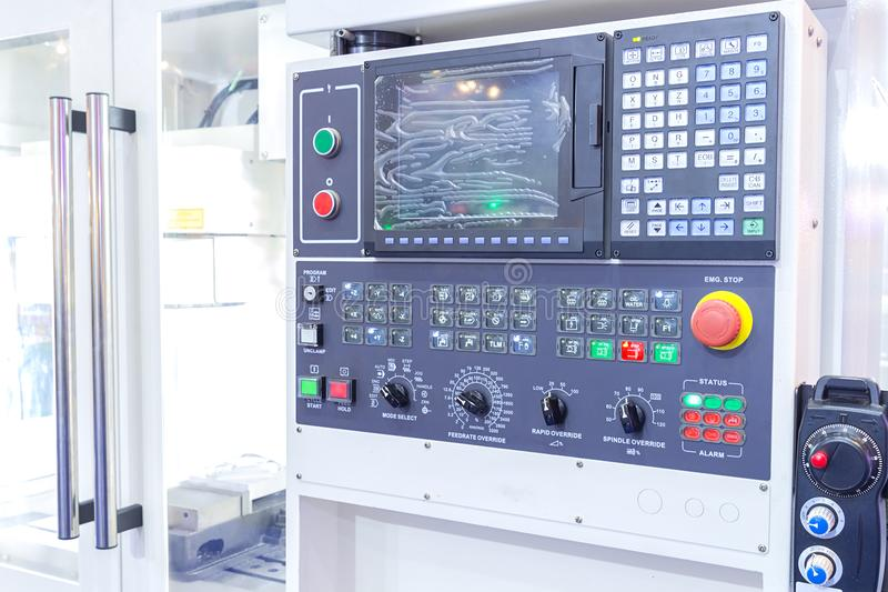 CNC milling machine center in tool manufacture workshop stock photo