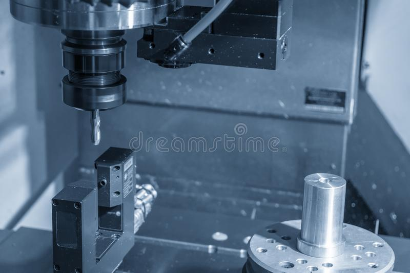 The  CNC milling machine measuring tool length by precision laser equipment . stock images