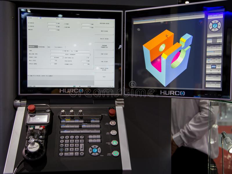 CNC monitor and control panel. Bangkok, Thailand - November 22, 2017: Monitor and control panel of CNC milling machine in Metalex 2017 royalty free stock images