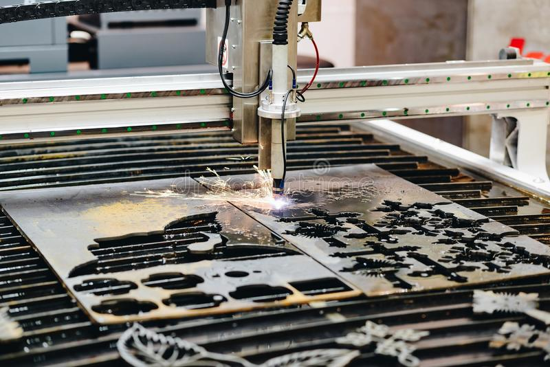 CNC plasma cutting machine stock photo