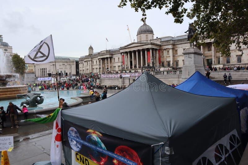 Extinction Rebellion camp at Trafalgar Square stock image