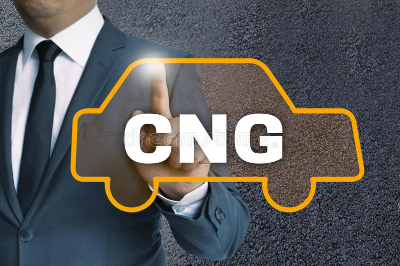 CNG auto touchscreen is operated by businessman concept.  stock image