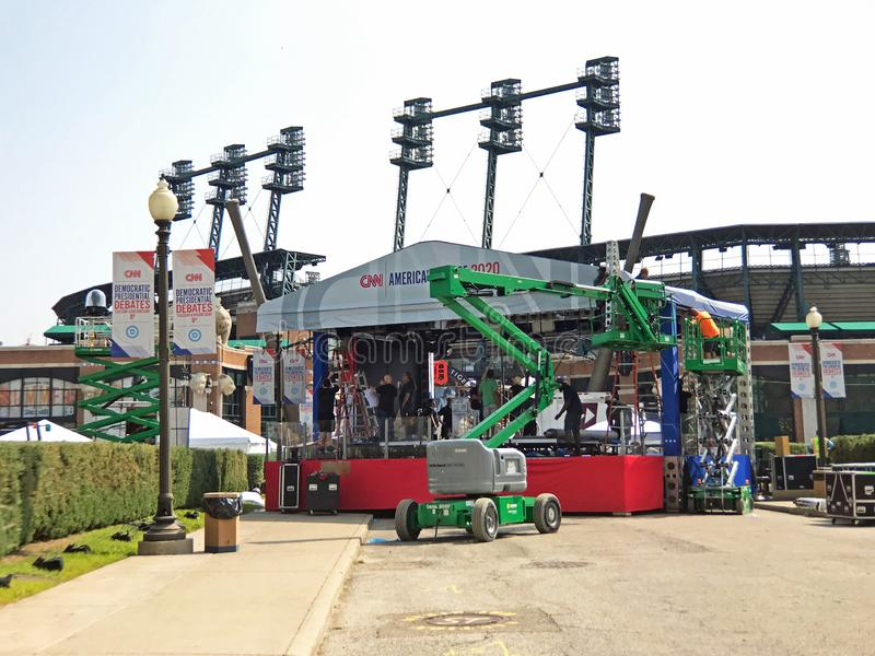 CNN Democratic Presidential Debate Broadcast Booth Outside Comerica Park in Detroit, July 30, and 31st royalty free stock images