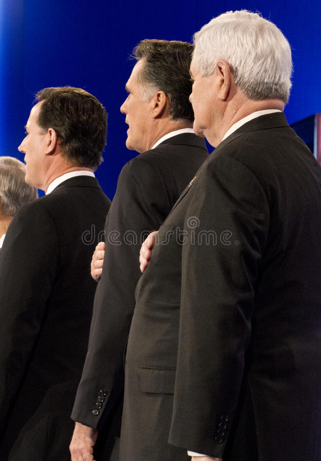 CNN Republican Presidential Debate 2012. Republican presidential hopefuls, Mitt Romney, Ron Paul, Newt Gingrich, and Rick Santorum, faced for the final debate on royalty free stock photo